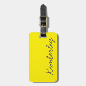 Bright Yellow Neon Monogram Trendy Fashion Colours Luggage Tag