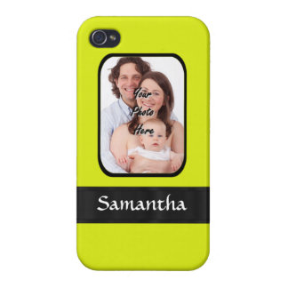 Bright yellow personalized photo case for iPhone 4