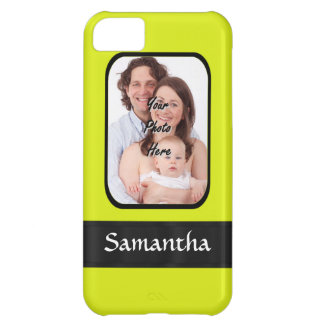 Bright yellow personalized photo iPhone 5C case