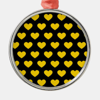 Bright Yellow Polka Dot Hearts (Black Background) Christmas Ornament