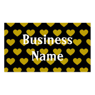 Bright Yellow Polka Dot Hearts (Black Background) Pack Of Standard Business Cards