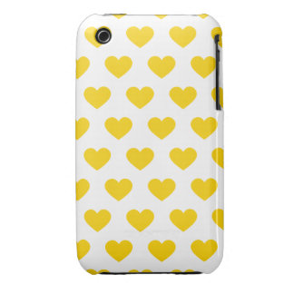 Bright Yellow Polka Dot Hearts Case-Mate iPhone 3 Case