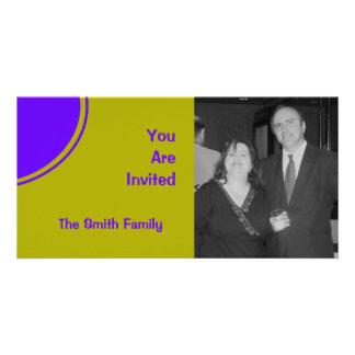 Bright yellow purple mod party invite photo cards