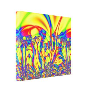 Bright Yellow red blue Fractal Art Gallery Wrapped Canvas