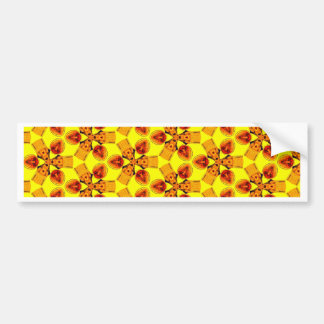 Bright yellow red orange daisy abstract pattern bumper sticker