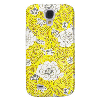 Bright Yellow Retro Flower Pattern Samsung Galaxy S4 Case