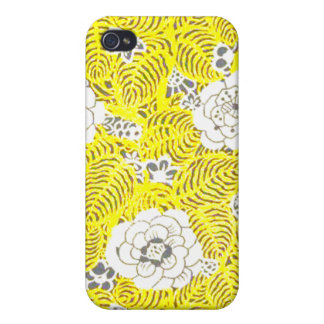 Bright Yellow Retro Flower Pattern iPhone 4 Cover