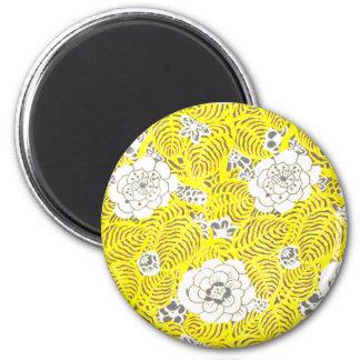Bright Yellow Retro Flower Pattern Refrigerator Magnet