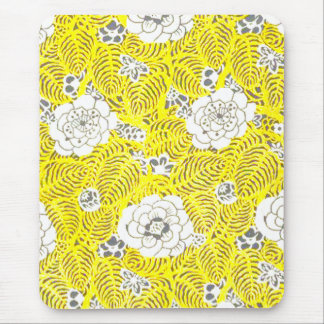 Bright Yellow Retro Flower Pattern Mouse Pads