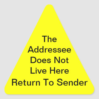 Bright Yellow Return To Sender Triangle Sticker