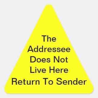 Bright Yellow Return To Sender Triangle Sticker