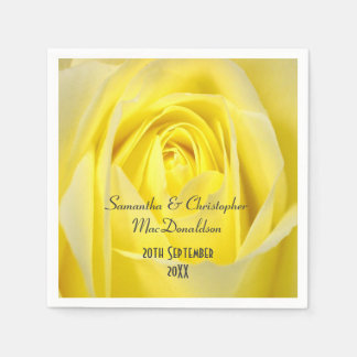 Bright yellow rose flowers country wedding disposable napkin