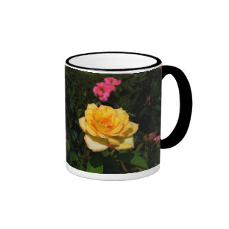 Bright Yellow Rose Ringer Mug