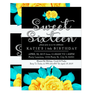 Bright Yellow Roses, Sweet 16 Invitations