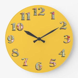 Bright yellow round clock with big cute numbers 08