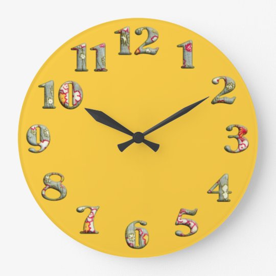 Bright yellow round clock with big cute numbers