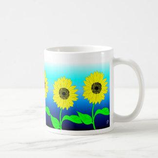Bright yellow row of sunflowers mugs