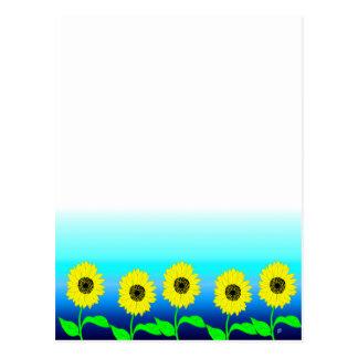 Bright yellow row of sunflowers postcard