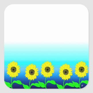 Bright yellow row of sunflowers square sticker