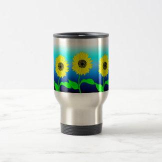 Bright yellow row of sunflowers travel mug