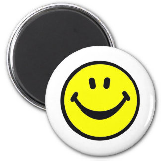 Bright yellow smilie face 6 cm round magnet