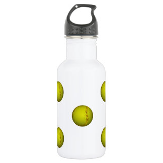 Bright Yellow Softball Pattern 532 Ml Water Bottle