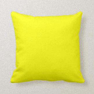Bright yellow solid plain c Custom Throw Pillow