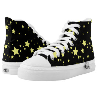 Bright Yellow Stars on Black Background High Tops