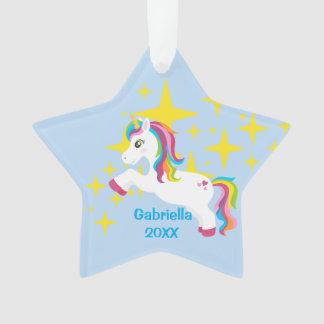 Bright Yellow Stars With Unicorn Ornament