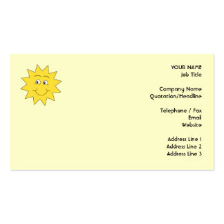 Bright Yellow Summer Sun. Smiling Face. Pack Of Standard Business Cards