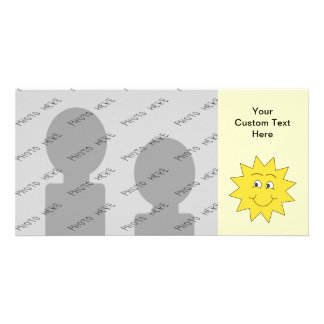 Bright Yellow Summer Sun. Smiling Face. Photo Card