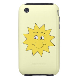 Bright Yellow Summer Sun. Smiling Face. Tough iPhone 3 Cover