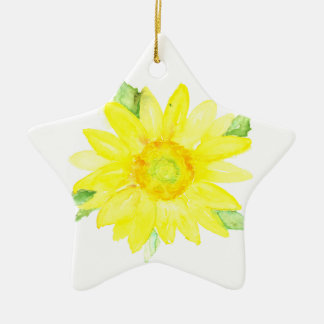 Bright Yellow Summer Sunflower Watercolor Christmas Ornament