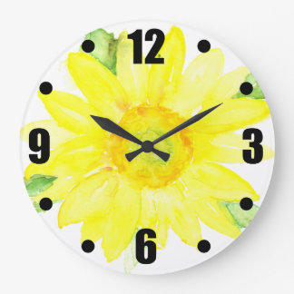 Bright Yellow Summer Sunflower Watercolor Large Clock