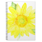 Bright Yellow Summer Sunflower Watercolor Notebook