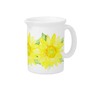 Bright Yellow Summer Sunflower Watercolor Pitcher