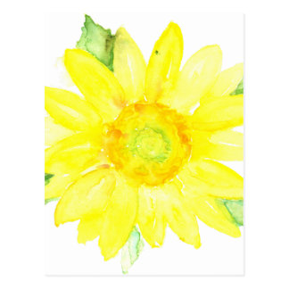 Bright Yellow Summer Sunflower Watercolor Postcard