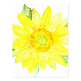 Bright Yellow Summer Sunflower Watercolor Postcard