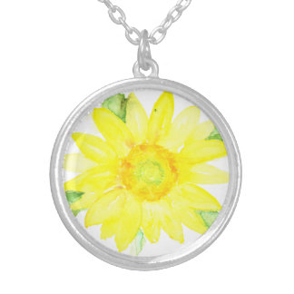 Bright Yellow Summer Sunflower Watercolor Round Pendant Necklace
