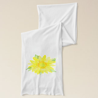 Bright Yellow Summer Sunflower Watercolor Scarf