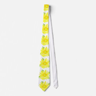 Bright Yellow Summer Sunflower Watercolor Tie
