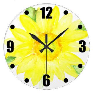 Bright Yellow Summer Sunflower Watercolor Wallclock
