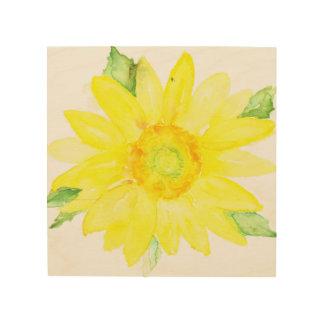 Bright Yellow Summer Sunflower Watercolor Wood Wall Art