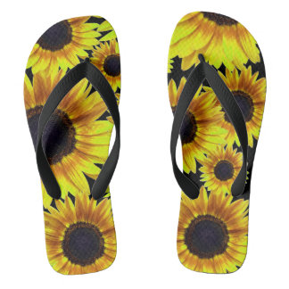 Bright Yellow Sunflower Flip Flops