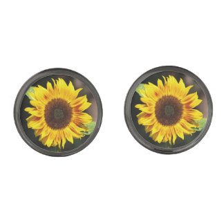 Bright Yellow Sunflower Gunmetal Finish Cuff Links
