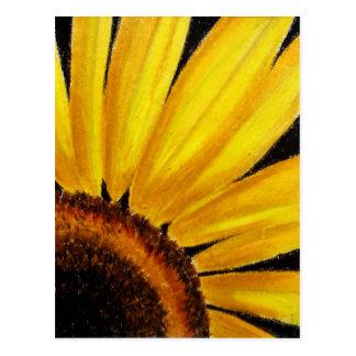 Bright Yellow Sunflower - Oil pastel print Postcard