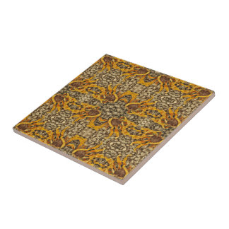 Bright Yellow Sunflower On Stones Repeat Pattern Tile