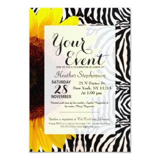 Bright Yellow Sunflower on Zebra Print Stripes 9 Cm X 13 Cm Invitation Card