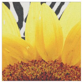 Bright Yellow Sunflower on Zebra Print Stripes Fabric
