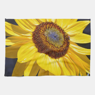 Bright yellow sunflower tea towel